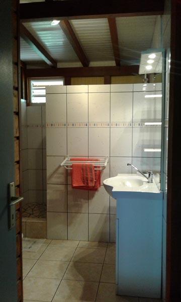 Lavabo et grande doucheà l'italienne dans la salle d'eau.