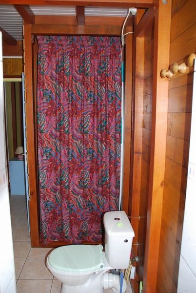 Toilettes dans la salle d'eauet placard de rangement.