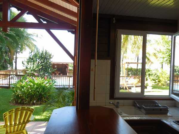 The view of the swimming pool from the kitchen of your cottage