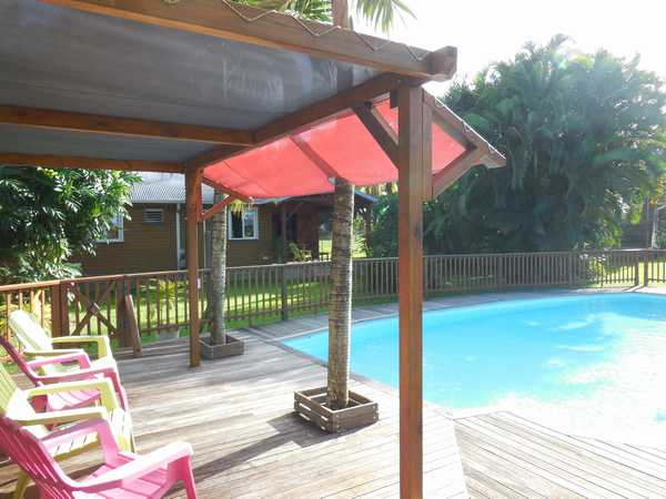 The pool area which faces 2 of our cottages